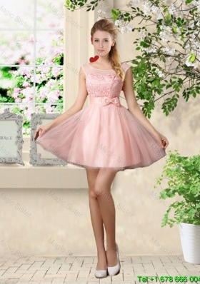 2015 Sturning A Line Bateau Bridesmaid Dresses with Lace and Bowknot