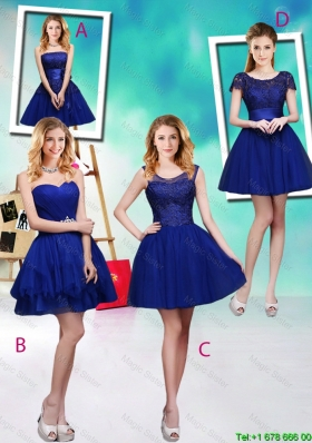 2015 Wonderful Mini Length Royal Blue Bridesmaid Dresses with Appliques