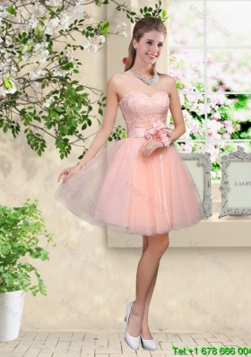 Elegant Sweetheart Baby Pink Bridesmaid Dresses with Appliques and Belt