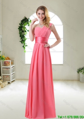 2015 Cheap Watermelon Red Bridesmaid Dresses with One Shoulder