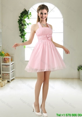 2015 Latest Halter Top Chiffon Bridesmaid Dresses with Mini Length