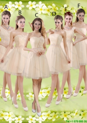 2016 Sturning Knee Length Champagne Bridesmaid Dresses with Appliques and Belt