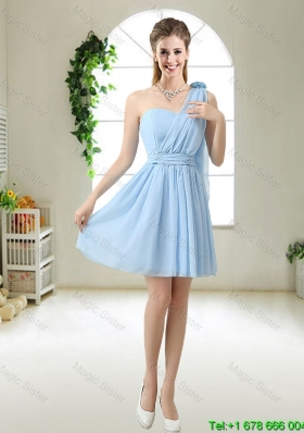 Decent One Shoulder Bridesmaid Dresses with Hand Made Flowers