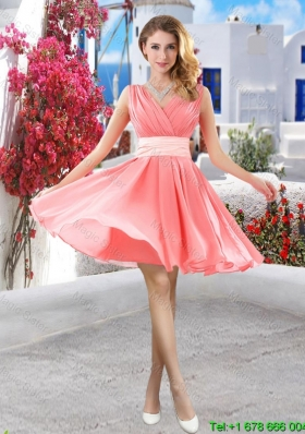Perfect Short Belt and Ruched Bridesmaid Dresses in Watermelon