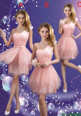 Popular One Shoulder and Belt Bridesmaid Dresses in Pink