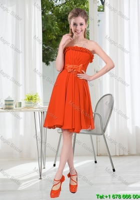 Summer A Line Strapless Bowknot Bridesmaid Dress in Rust Red