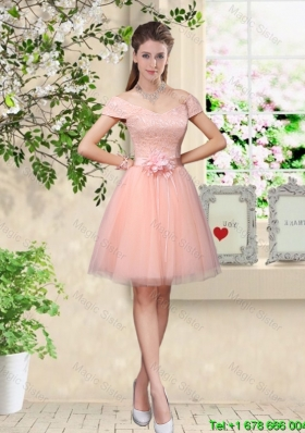 Discount Off the Shoulder Hand Made Flowers Prom Dresses in Baby Pink