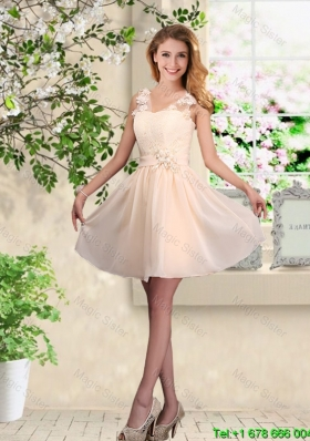 Suitable V Neck Appliques Bridesmaid Dresses in Champagne
