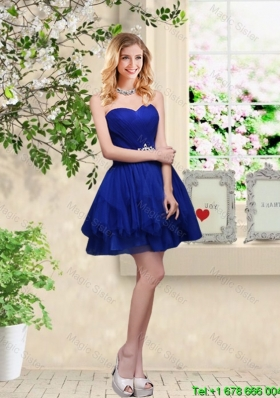 Cheap Sweetheart Royal Blue Dama Dresses with Belt