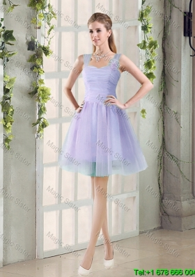 Junior A Line Straps Short Prom Dresses with Ruching