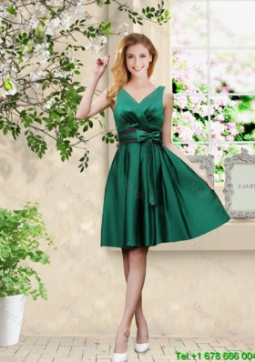 Junior V Neck Bowknot Hunter Green Prom Dresses with Knee Length