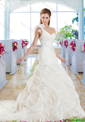 Luxurious Mermaid One Shoulder Wedding Gowns with Rolling Flowers