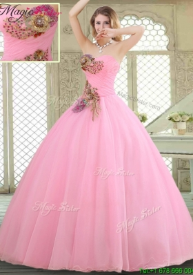 2016 New Style Rose Pink Quinceanera Gowns with Beading and Appliques