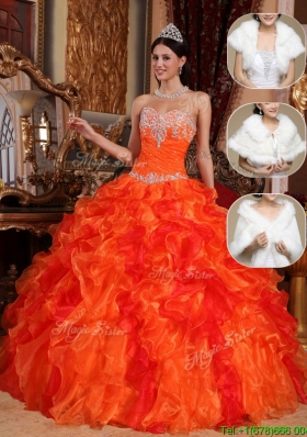 Plus Size 2016 Sweetheart Beading Sweet 15 Dresses in Orange