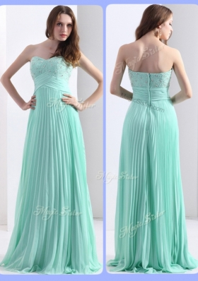 2016 Empire Beading and Sequins Apple Green Fashion Evening Dresses with Brush Train