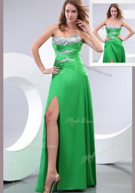 Affordable Sweetheart Paillette and High Slit Green Fashion Evening Dresses