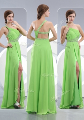 Elegant One Shoulder Spring Green Fashion Evening Dresses  with High Slit