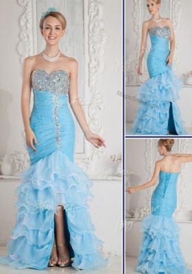 Gorgeous Mermaid Sweetheart Beading and Ruffled Layers Aqua Blue Fashion Evening Dresses