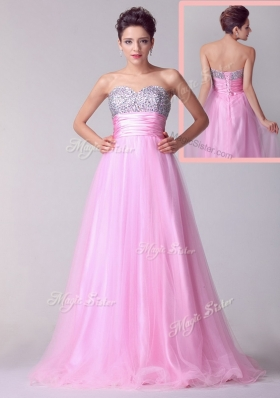 Lovely A Line Brush Train Rose Pink Fashion Evening Dresses with Beading for Spring