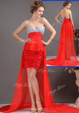 Most Popular Column High Low  Fashion Evening Dresses with Beading
