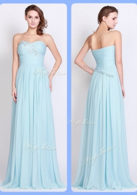 New Style Brush Train Light Blue Fashion Evening Dresses with Beading and Ruching