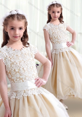New Arrival Scoop Ball Gown Flower Girl Dresses with Belt