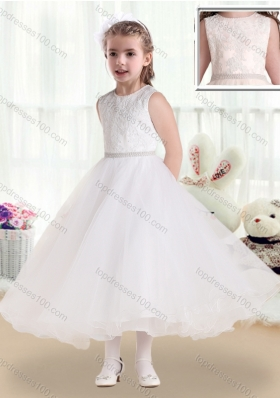 New Arrival Scoop Tea Length Flower Girl Dresses with Lace