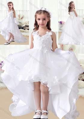 New Arrival V Neck Appliques High Low White Flower Girl Dresses
