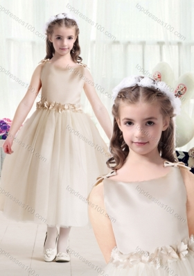 New Arrival Ball Gown Bateau Champagne Flower Girl Dresses with Belt