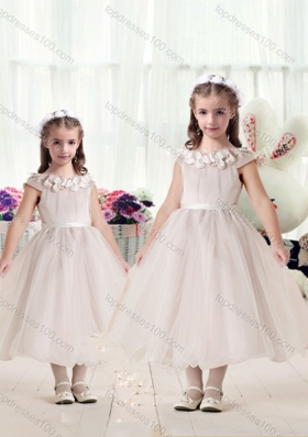 New Arrival Cap Sleeves Flower Girl Dresses with Appliques and Belt