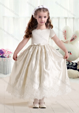 New Arrival Empire Short Sleeves Flower Girl Dresses with Lace