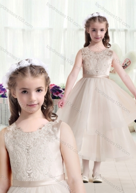 New Arrival Scoop Champagne Flower Girl Dresses with Appliques