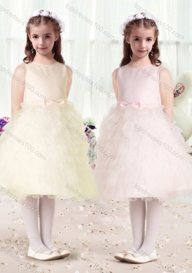 New Arrival Scoop Flower Girl Dresses with Ruffles and Bowknot