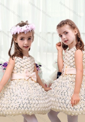 New Arrival Scoop Short Little Girl Dresses with Bowknot