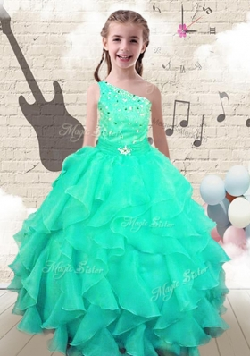 Modest Ball Gown One Shoulder Mini Quinceanera Dresses with Beading