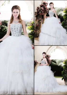 2016 Best Selling Strapless Wedding Dresses with Beading and Ruffles