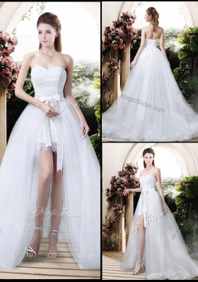 2016 Classical High Low Detachable Wedding Dresses with Appliques and Lace