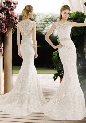 2016 Hot Sale Mermaid Lace and Belt Wedding Dresses with Brush Train