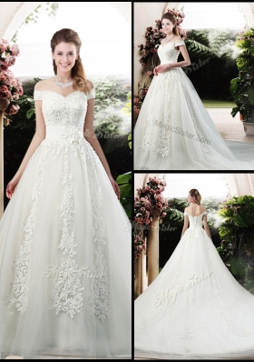Beautiful A Line Off the Shoulder Wedding Dresses with Appliques