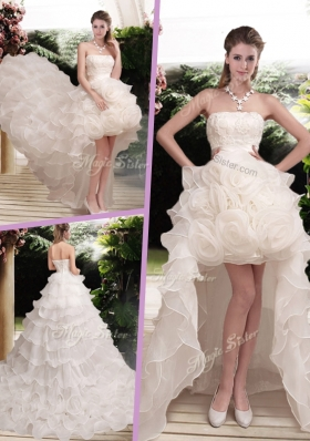 Classical Hand Made Flowers Strapless Wedding Dresses with Ruffled Layers