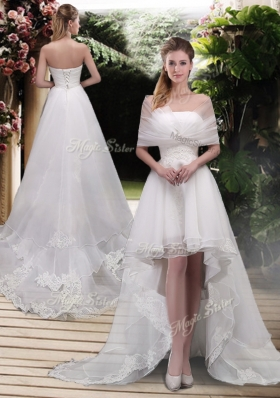 Classical High Low A Line Wedding Dresses with Appliques