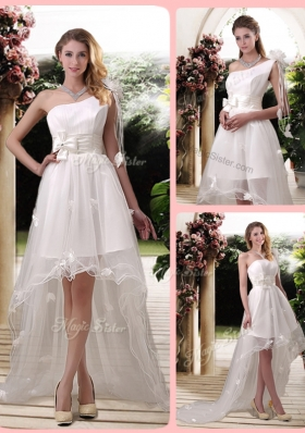 Exclusive One Shoulder High Low Wedding Dresses with Appliques