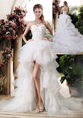 Gorgeous High Low Wedding Dresses with Beading and Ruffles