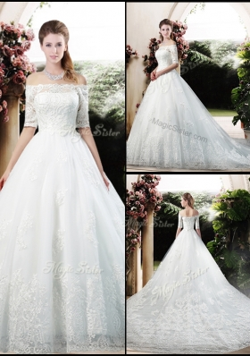 Latest A Line Off the Shoulder Half Sleeves Wedding Dresses with Appliques
