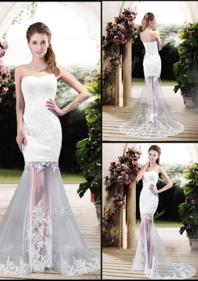 Latest Column Sweetheart Lace Wedding Dresses with Brush Train