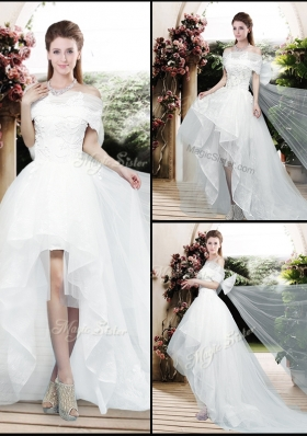 Pretty Appliques and Bowknot High Low Wedding Dresses with Cap Sleeves