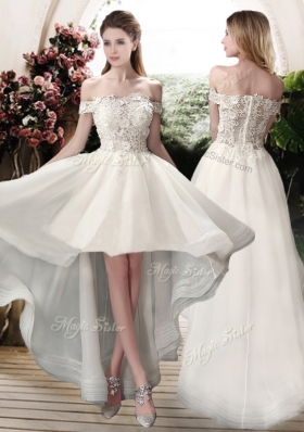 2016 Beautiful Off the Shoulder High Low Wedding Dresses with Appliques