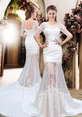 Exquisite Column Scoop Brush Train Appliques Wedding Dresses with Half Sleeves