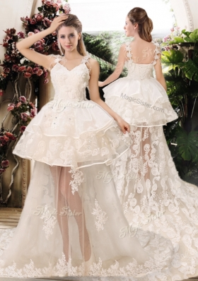 Latest Appliques Straps Wedding Dresses with Brush Train