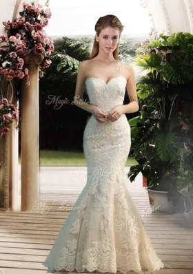 Modest Mermaid Sweetheart Lace Wedding Dresses with Floor Length